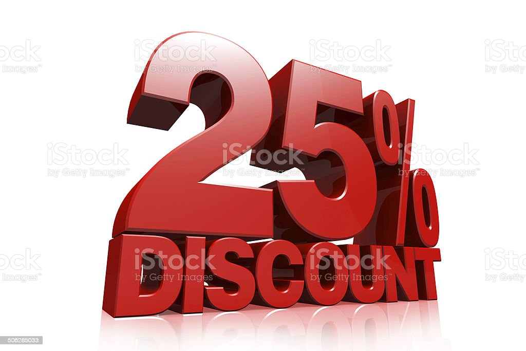 3D render red text 25 percent discount stock photo