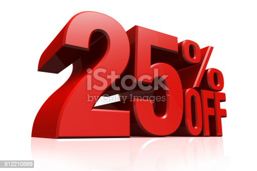 istock 3D render red text 25 percent off. 512210589
