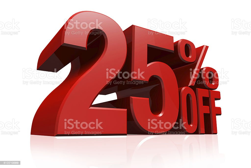 3D render red text 25 percent off. stock photo