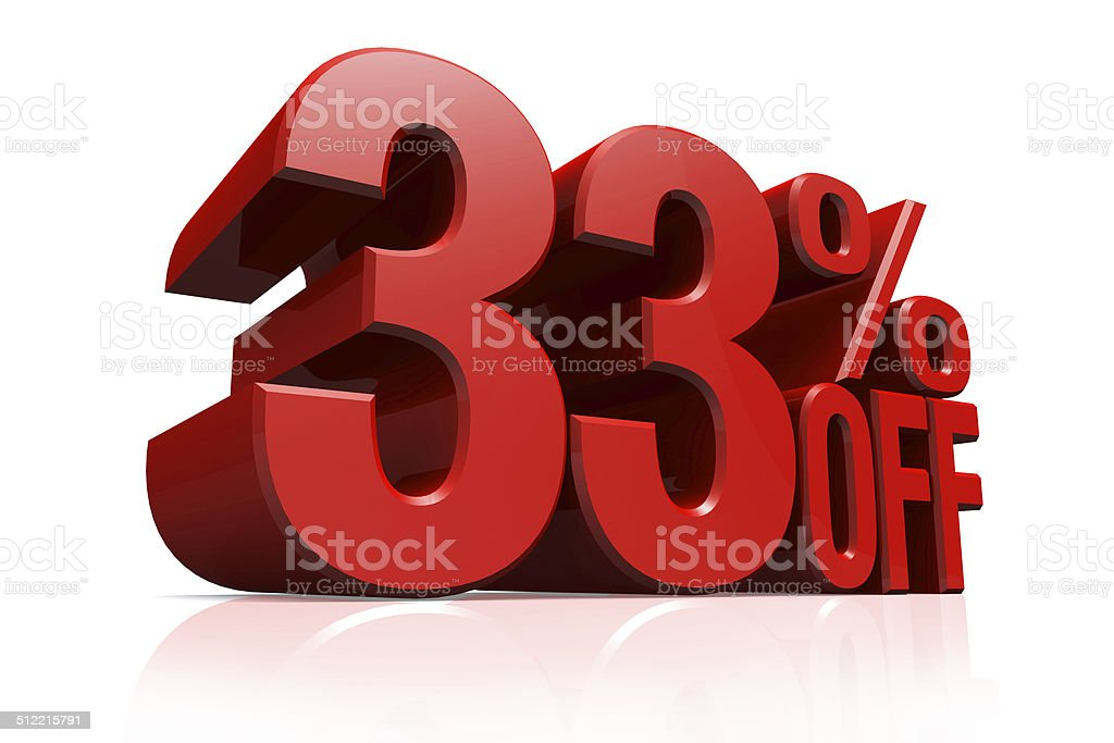 3D render red text 33 percent off. stock photo