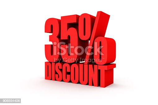 856345942istockphoto 3D render red text 35 percent discount 906554406