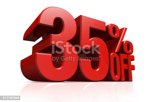 istock 3D render red text 35 percent off. 512182845