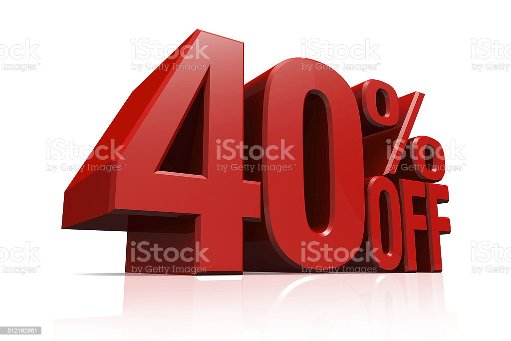 3D render red text 40 percent off. stock photo