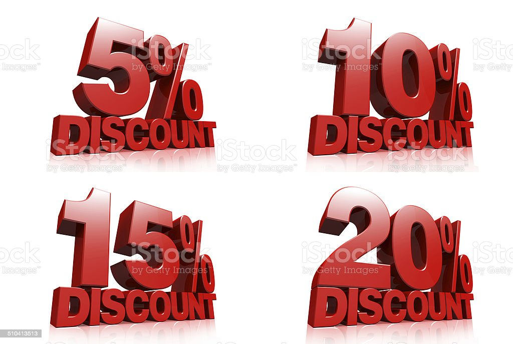 3D render red text 5,10,15,20 percent discount stock photo