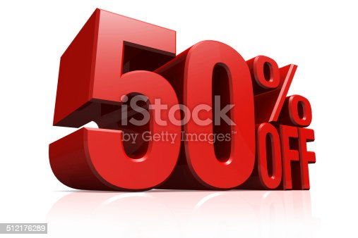 3D render red text 50 percent off on white background with reflection.