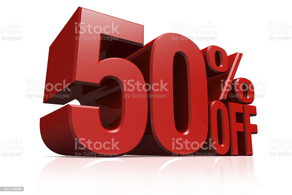 3D render red text 50 percent off. stock photo