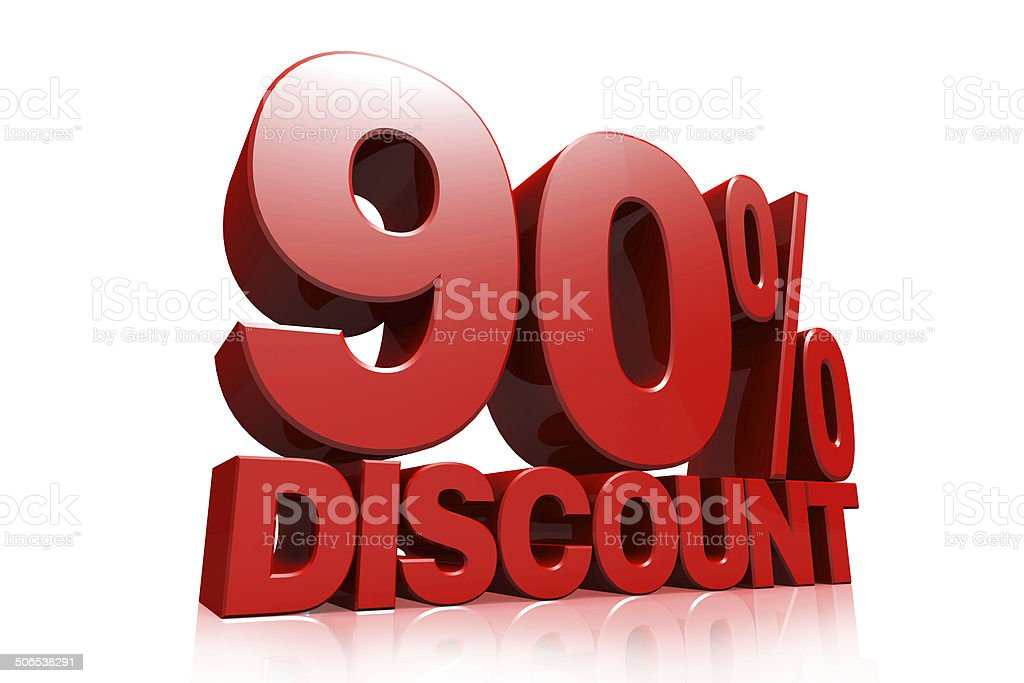 3D render red text 90 percent discount stock photo