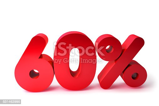 istock 60% 3D Render Red Word Isolated in White Background 531463995