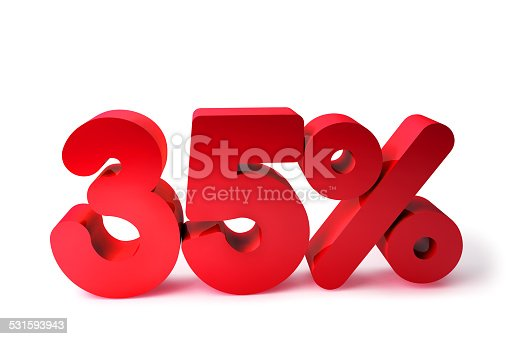 530872967 istock photo 35% 3D Render Red Word Isolated in White Background 531593943