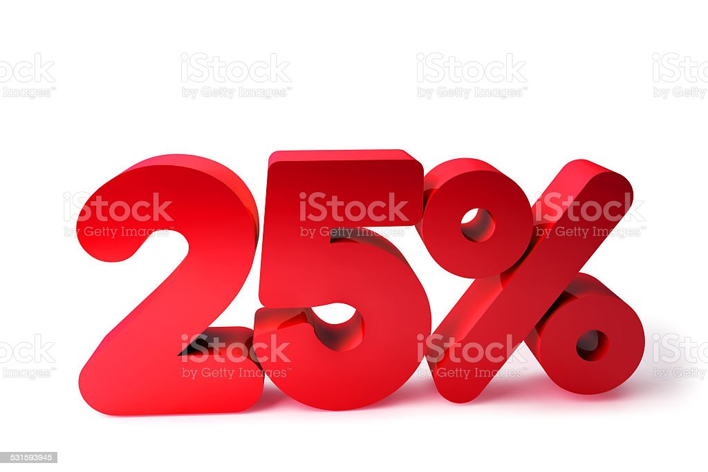 25% 3D Render Red Word Isolated in White Background stock photo