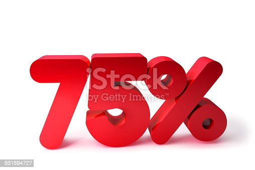 530872967 istock photo 75% 3D Render Red Word Isolated in White Background 531594727