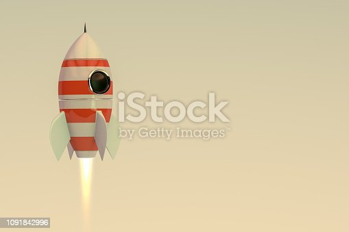 3D Rendering of Retro Rocket Ship with flame on retro color background.