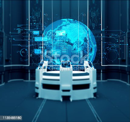 3D rendering. Futuristic interior. Projection. Hologram Control panel Future Center. 3D illustration. Hologram of Planet Earth in the Science center. 3D Render. Scientific research. Future and Technology.