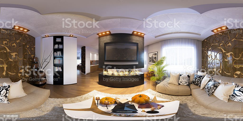Render seamless panorama of living room interior design stock photo