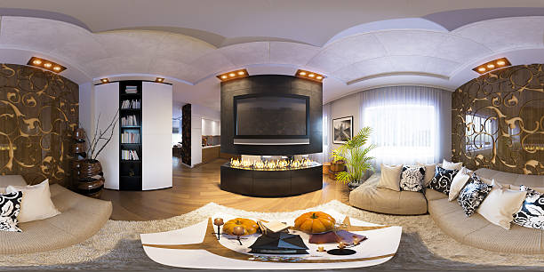 Render seamless panorama of living room interior design stock photo