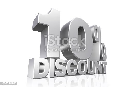 3D render silver text 10 percent discount on white background with reflection.