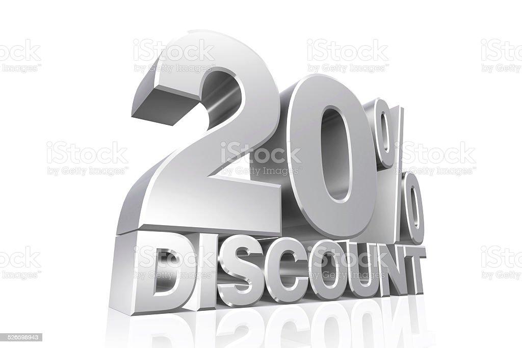 3D render silver text 20 percent discount. stock photo