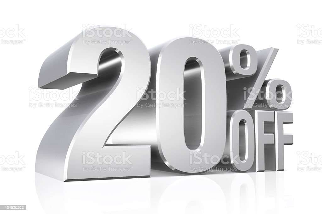 3D render silver text 20 percent off. stock photo