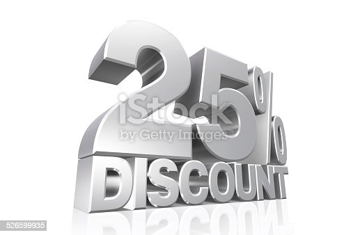 870618752 istock photo 3D render silver text 25 percent discount. 526599935