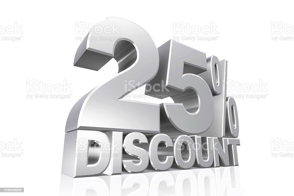 3D render silver text 25 percent discount. stock photo