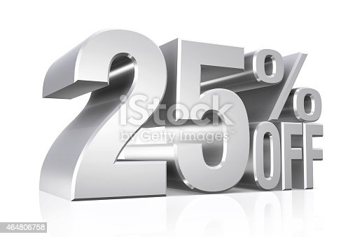 istock 3D render silver text 25 percent off. 464806758