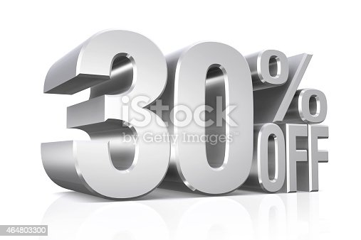 istock 3D render silver text 30 percent off. 464803300