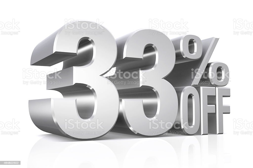 3D render silver text 33 percent off. stock photo