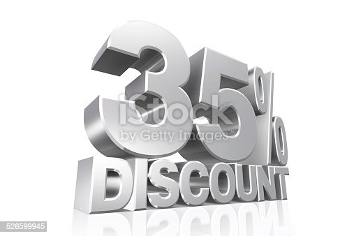 906580458 istock photo 3D render silver text 35 percent discount. 526599945