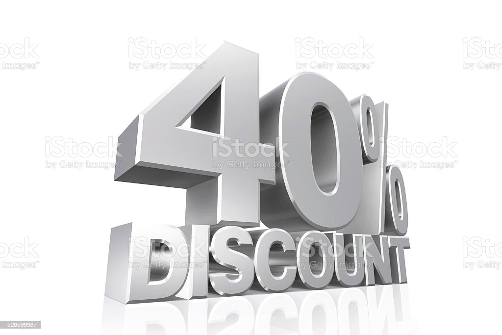 3D render silver text 40 percent discount. stock photo