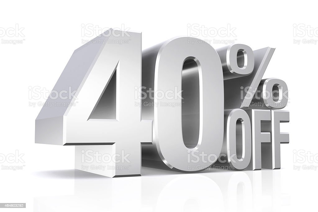 3D render silver text 40 percent off. stock photo
