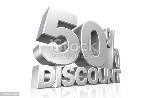 3D render silver text 50 percent discount on white background with reflection.