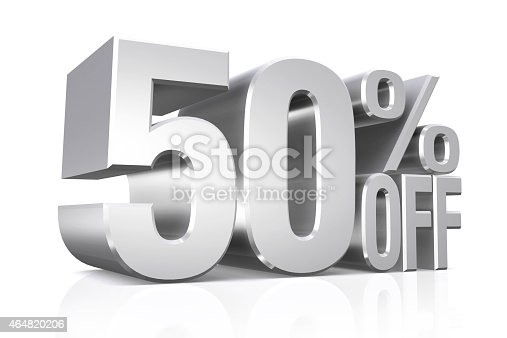 3D render silver text 50 percent off on white background with reflection.