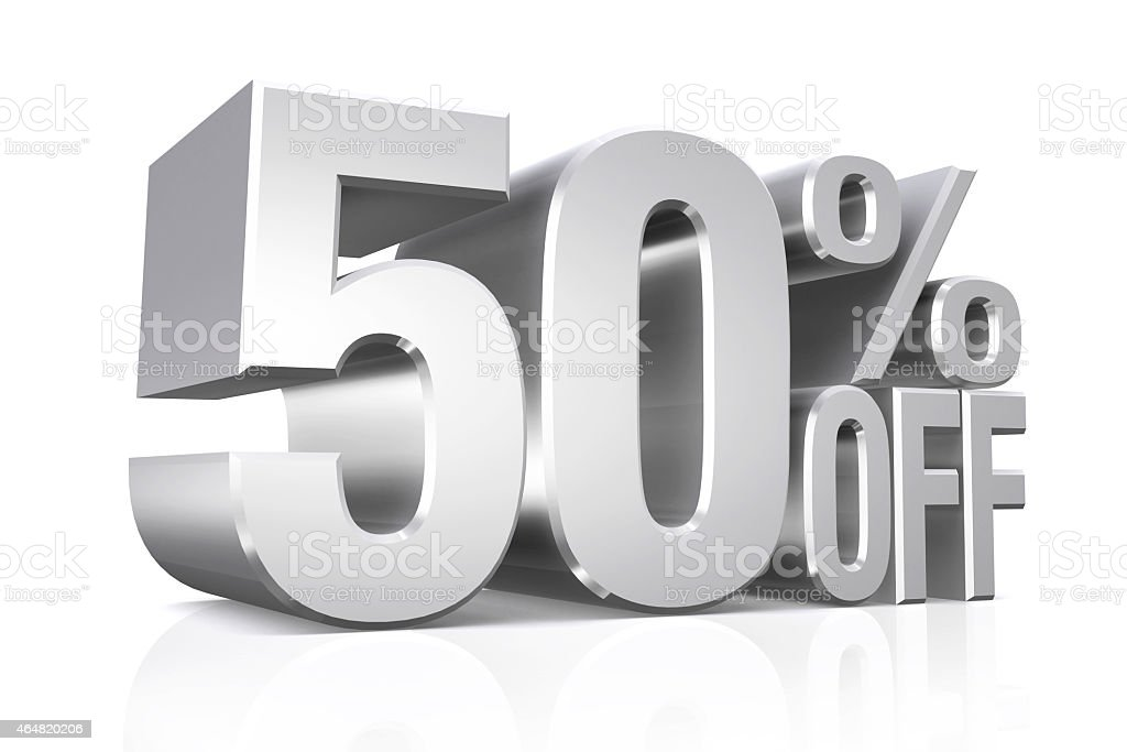 3D render silver text 50 percent off. stock photo