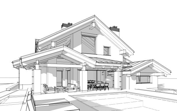3d render sketch of modern cozy house in chalet style - sketch stock pictures, royalty-free photos & images