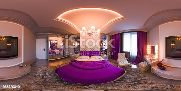 938518926istockphoto Render spherical 360 degrees, seamless panorama of bedroom interior design 938520040