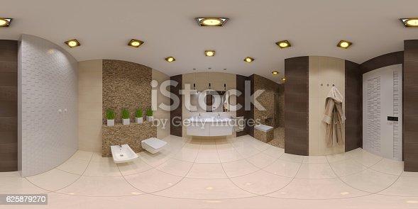 istock Render spherical 360 panorama of bathroom interior 625879270