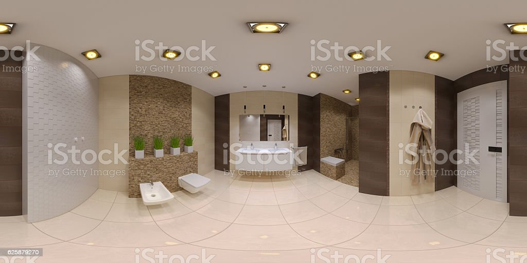 Render spherical 360 panorama of bathroom interior stock photo