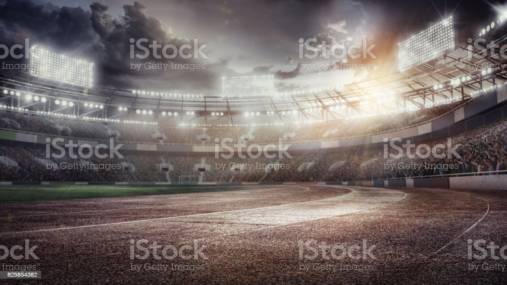 3D render. Sport Backgrounds. Soccer stadium and running track. Dramatic scene. stock photo