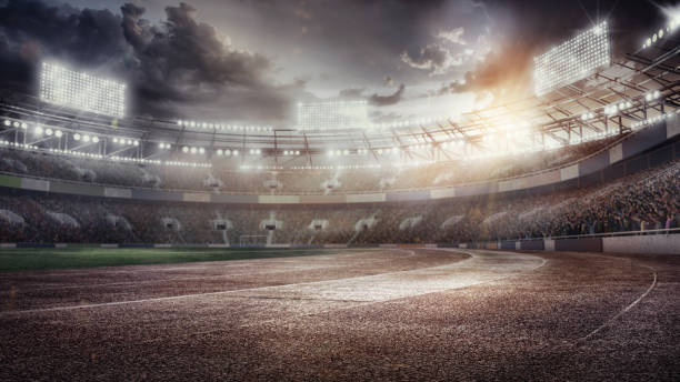 3D render. Sport Backgrounds. Soccer stadium and running track. Dramatic scene.