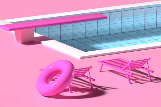 3D render. Sun beds near the pool with inflatable circle in pink colors. Minimalistic style, aesthetic and surrealism. Summer vacation vibes. Digital art. stock photo