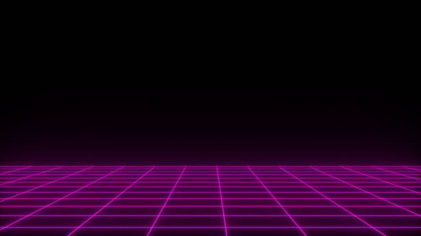3D render synthwave wireframe net abstract background. Future retro line grid illustration stock photo