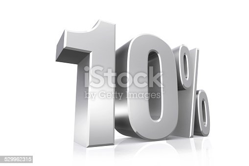 3D render text in 10 percent in silver on white background with reflection.