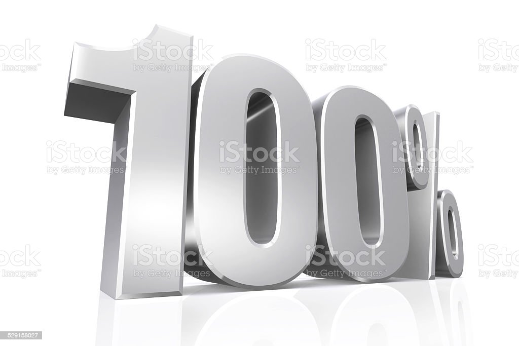 3D render text in 100 percent in silver. stock photo