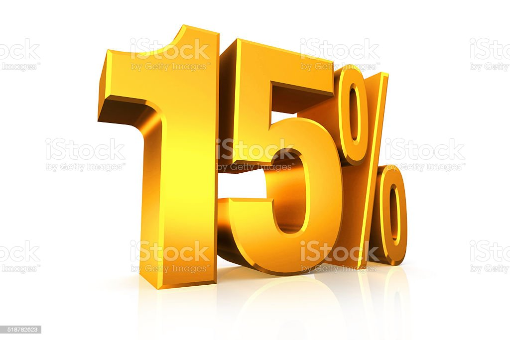 3D render text in 15 percent in gold stock photo