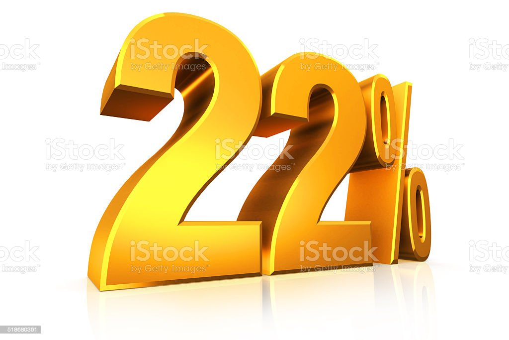 3D render text in 22 percent in gold stock photo