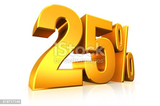 istock 3D render text in 25 percent in gold 518717145