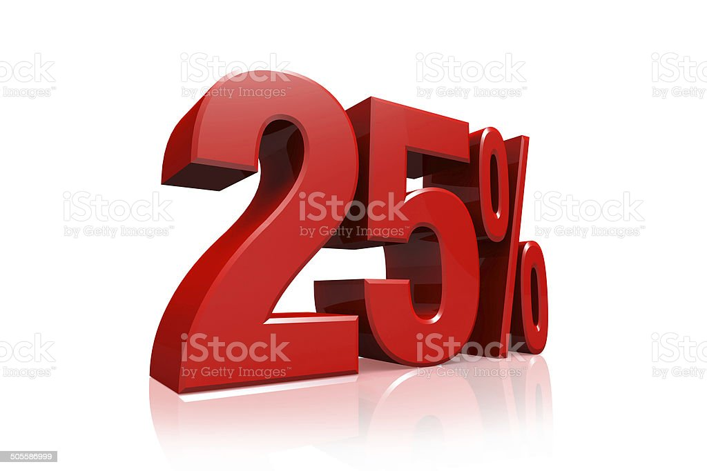 3D render text in 25 percent in red stock photo
