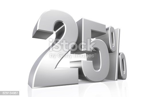 istock 3D render text in 25 percent in silver. 529134951