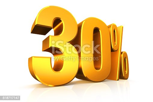 istock 3D render text in 30 percent in gold 518717147