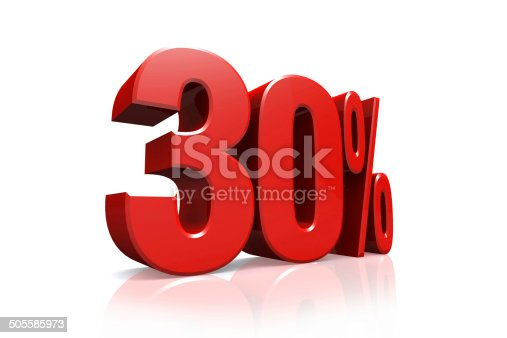 istock 3D render text in 30 percent in red 505585973